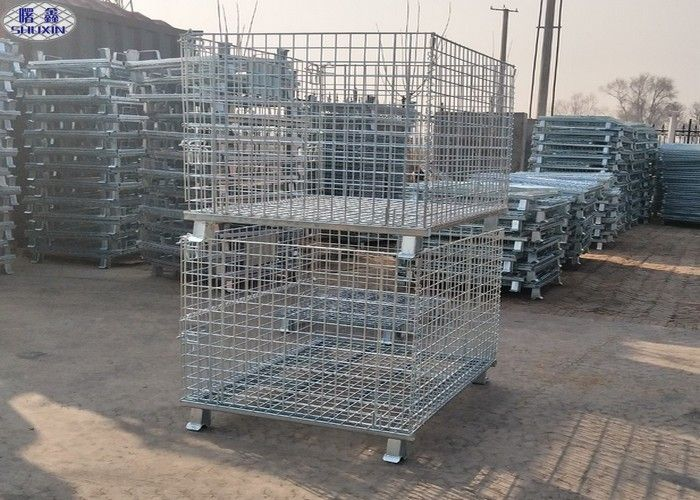 Foldable Lockable Metal Wire Mesh Pallet Cages for Transportation